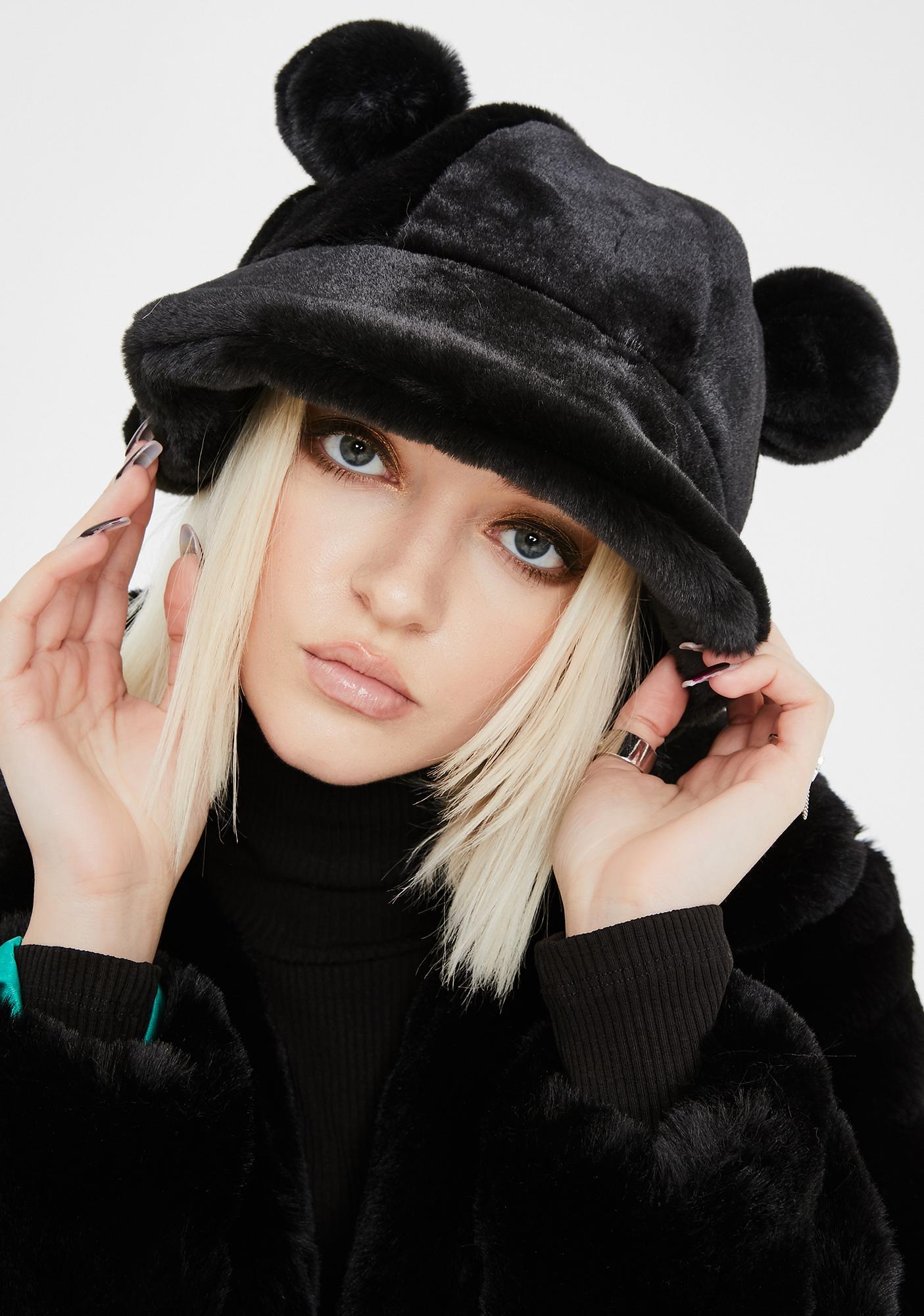 Fuzzy Faux Fur Bear Ear Bucket Hat Black Dolls Kill