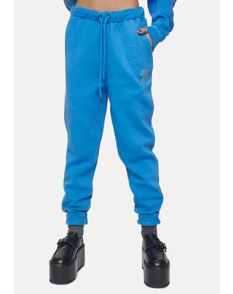 Blue Joggers With Rhinestone Embellishment