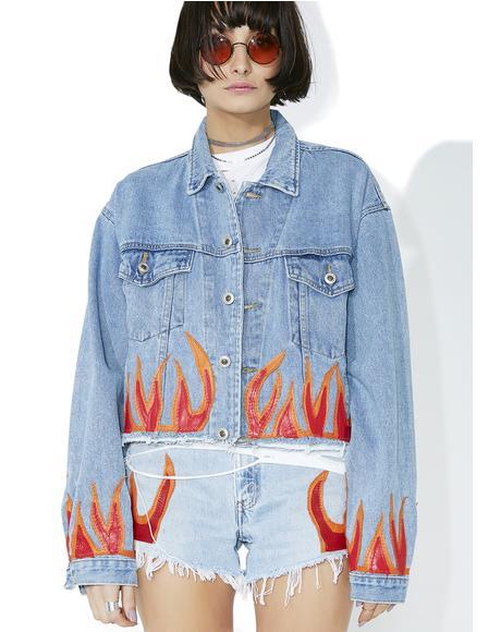 Red Flame Denim Jacket