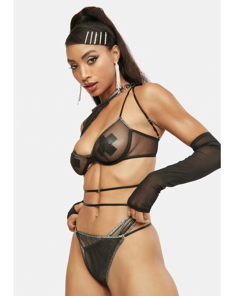 Black Sheer All Your Secrets Mesh Lingerie Set