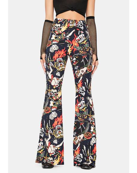Feeling Flashy Tattoo Print Flares
