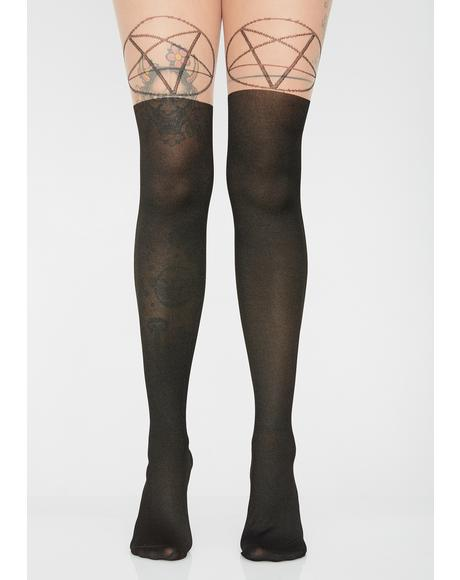 Occult Charm Pentagram Tights