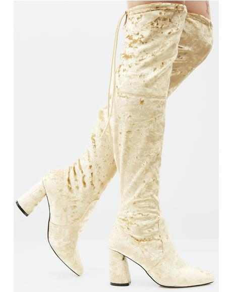Gold Velvet Thigh High Boots