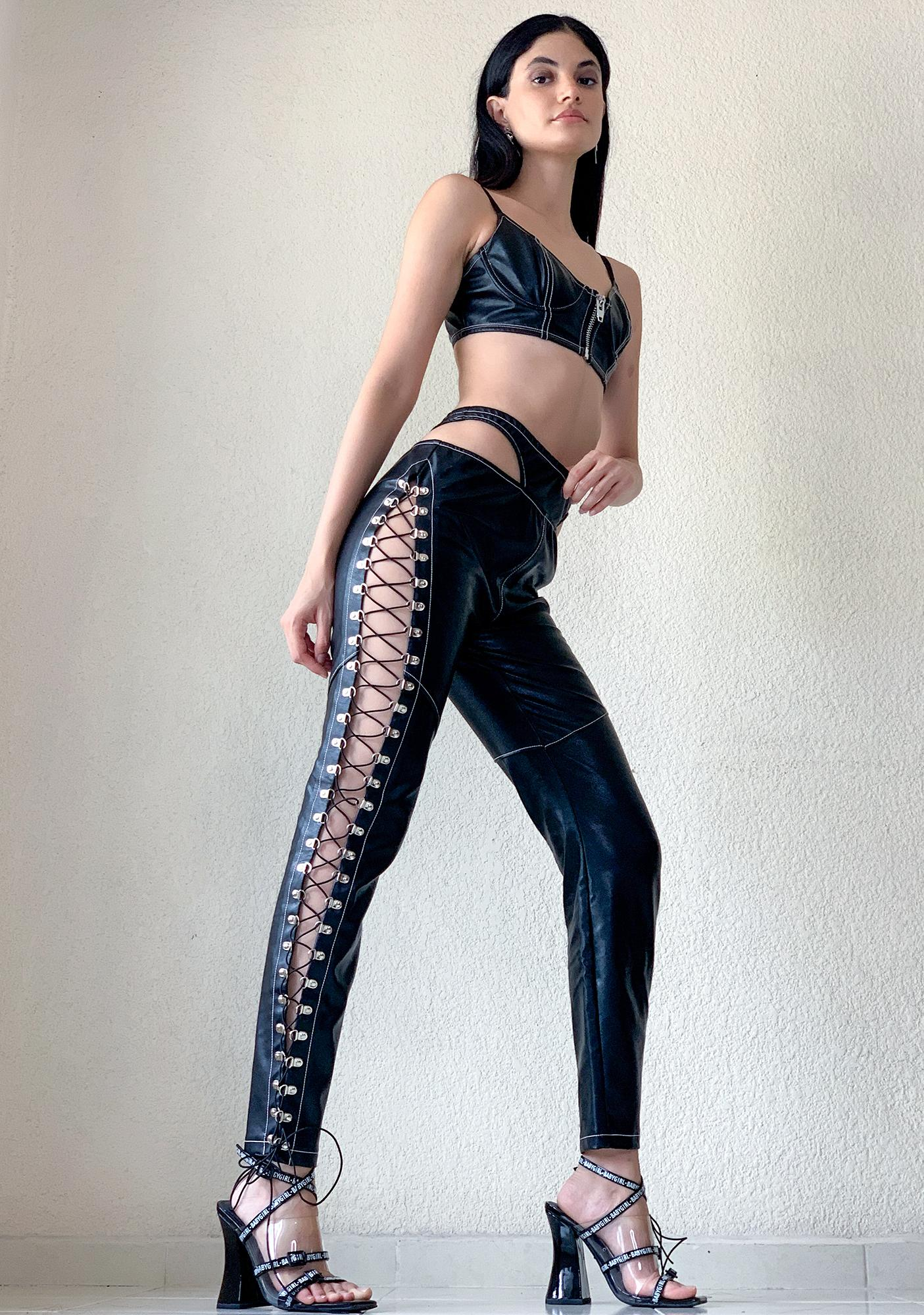 Poster Grl Don't Test Me Lace Up Pants