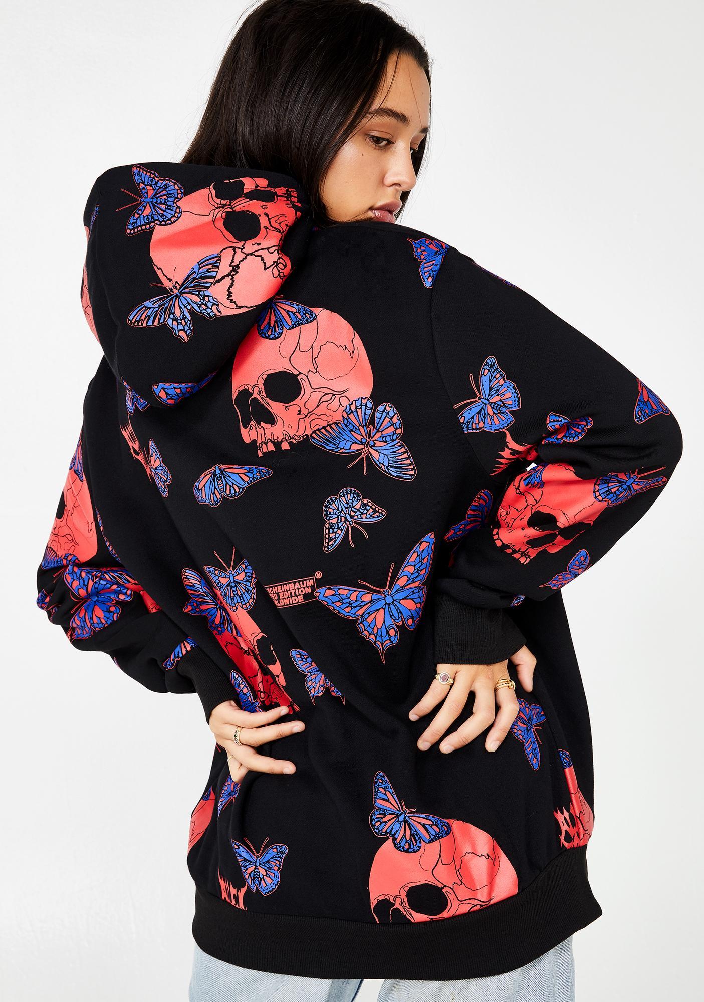 ALIEN BODY Butterfly Skull All Over Print Fleece