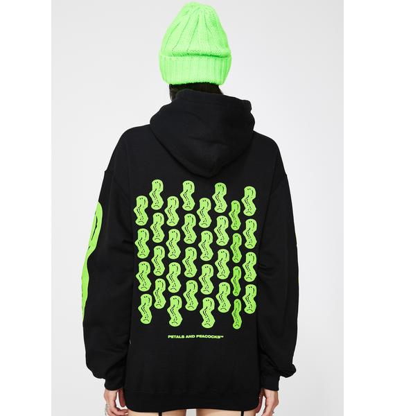 Petals and Peacocks Emo-tional Graphic Hoodie