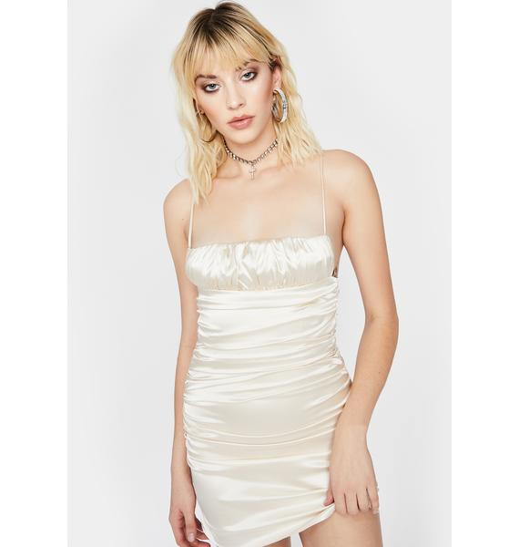 Champagne Lover's Embrace Satin Dress