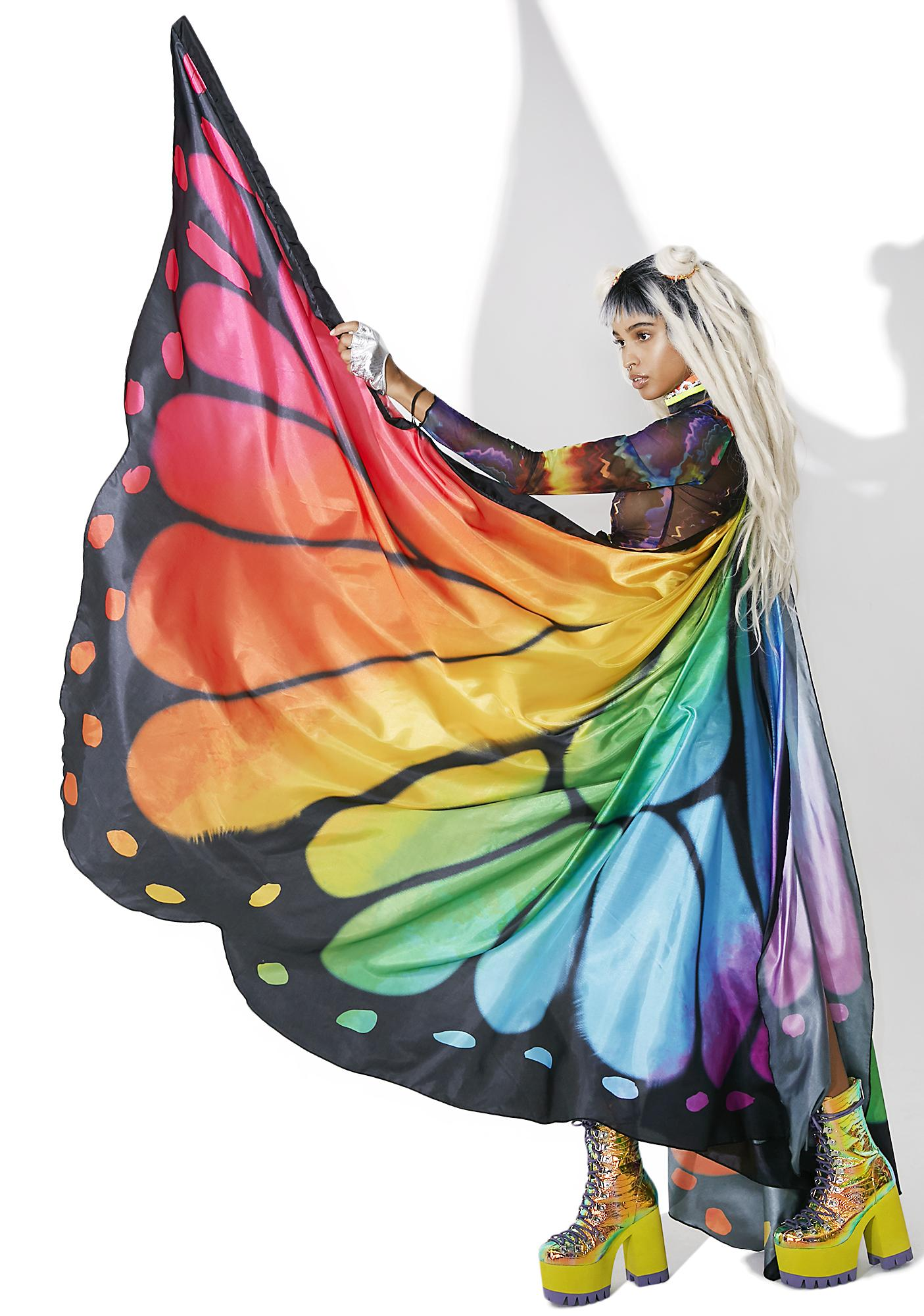 Psychedelia Rainbow Butterfly Cape