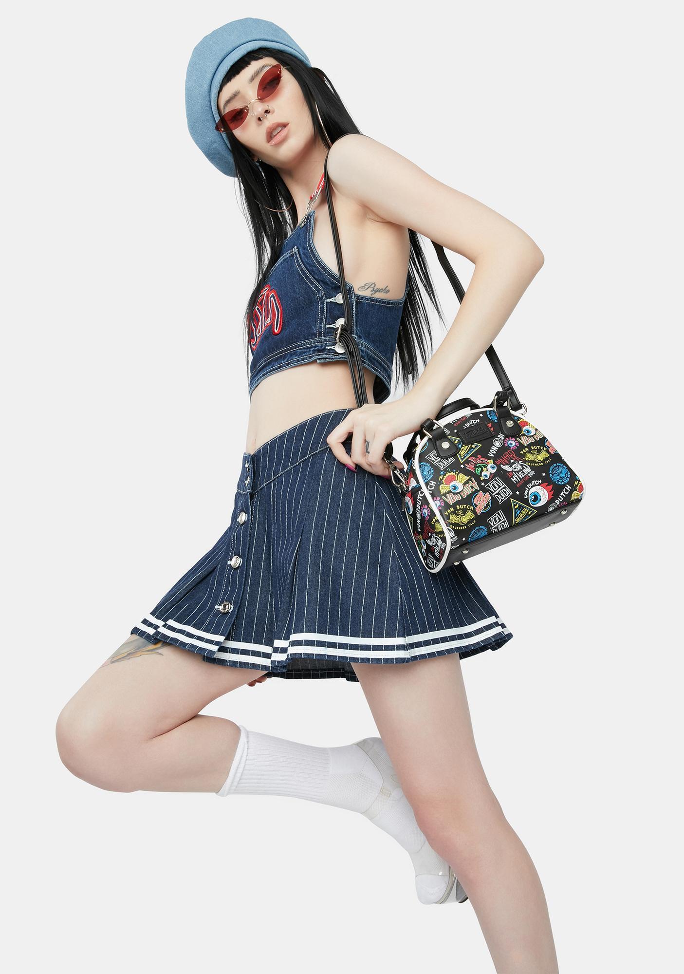 Jaded London Pinstripe Denim Cheerleader Skirt