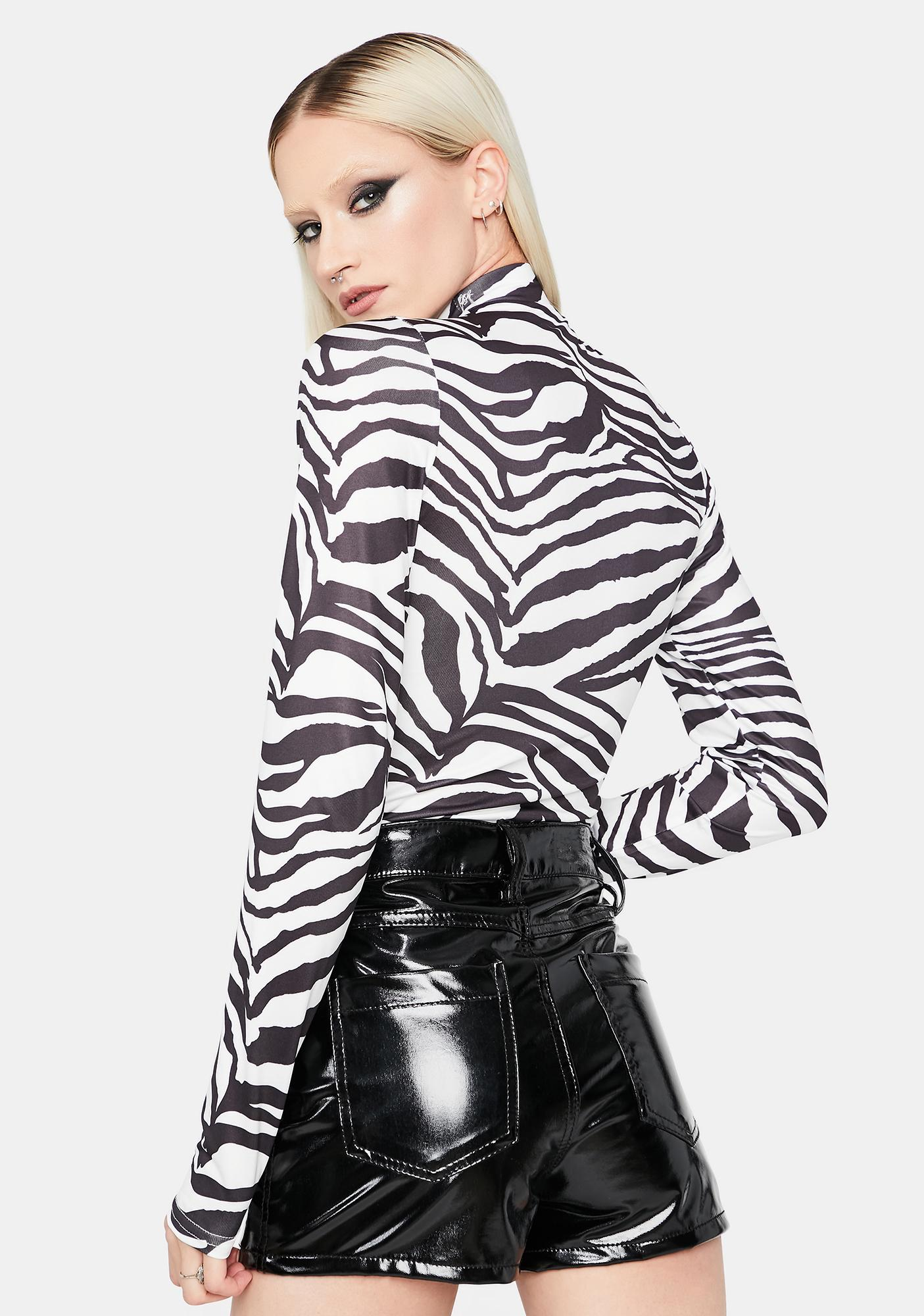 Pure Zebra Roar Cut Out Bodysuit