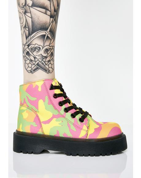 Slayr Neon Camo Boots
