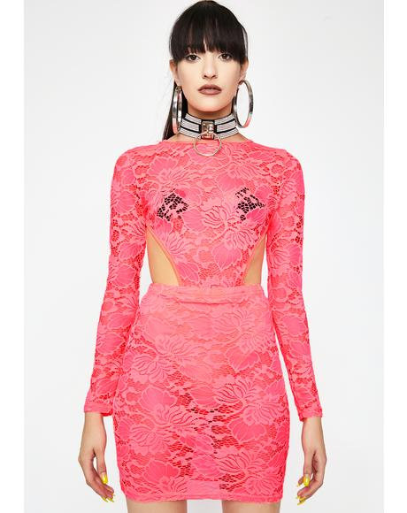 Coral Diva Dominion Lace Dress