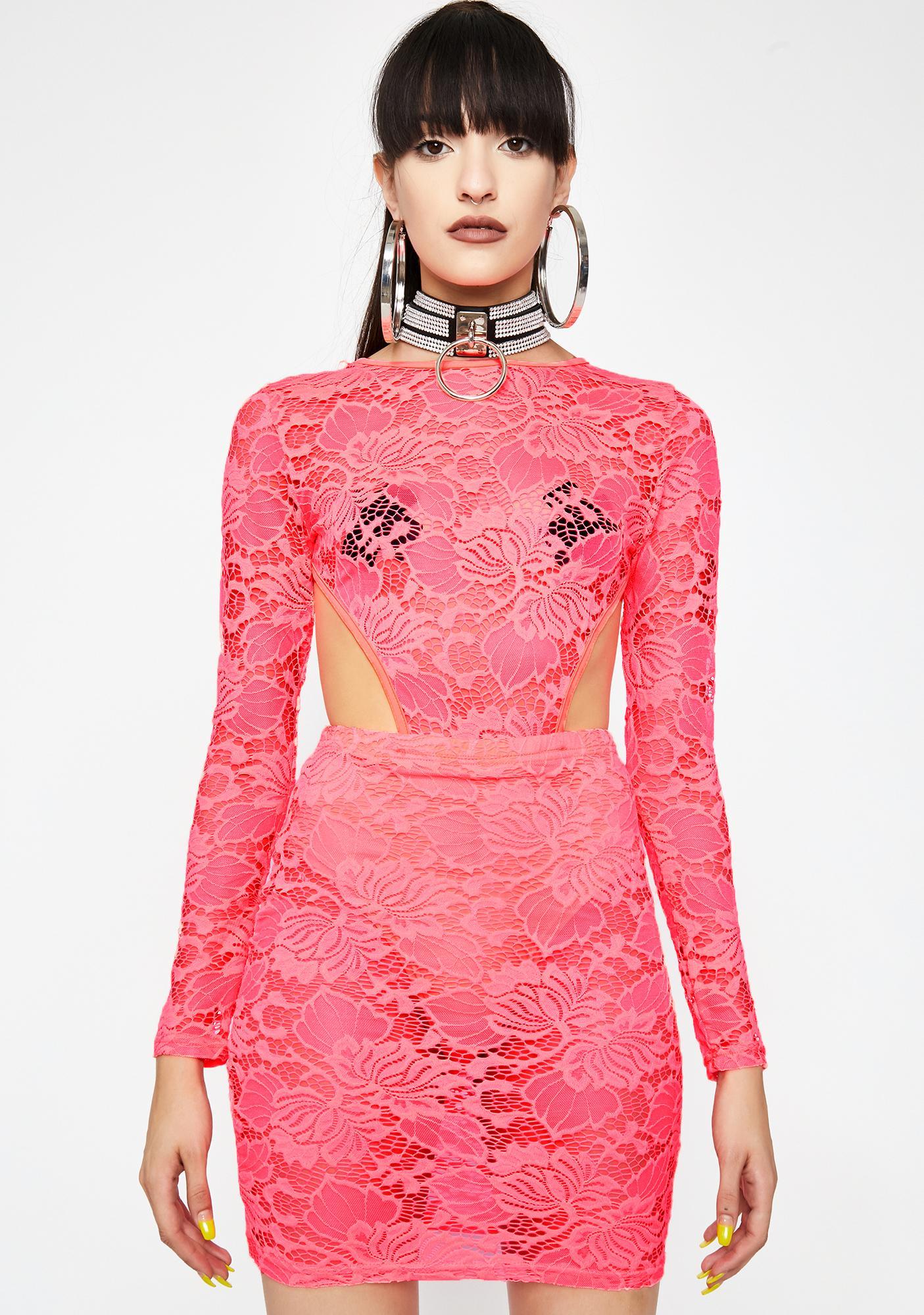 Coral Diva Dominion Lace Dress