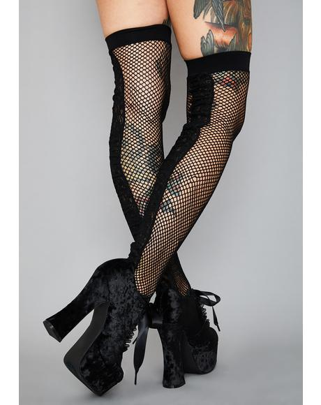 Beloved Deadlock Fishnet Thigh Highs