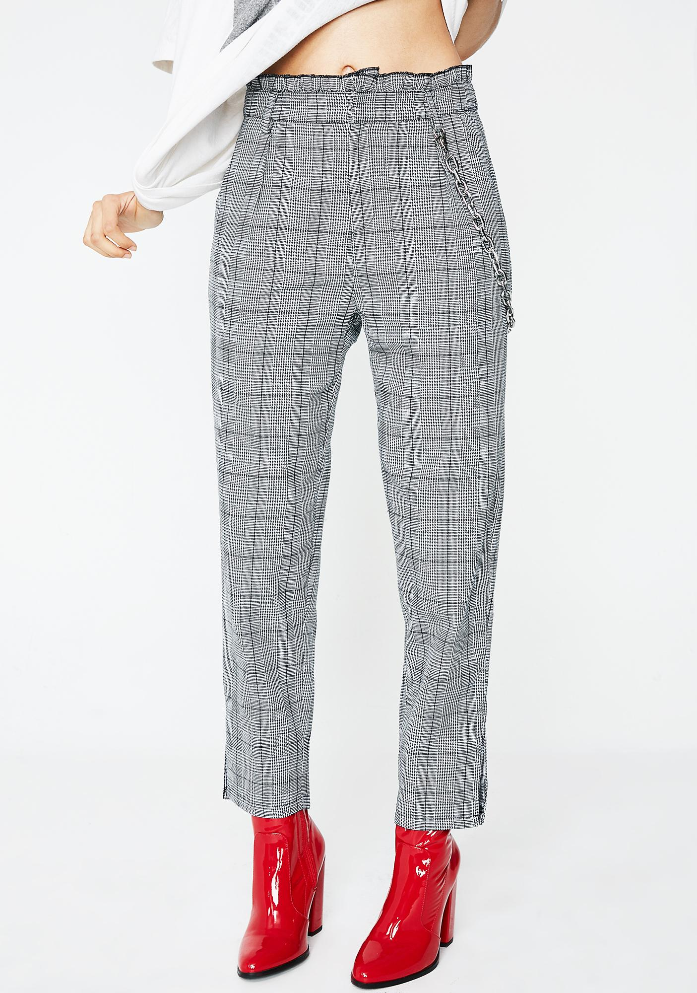 Move Along Ruffle Plaid Pants