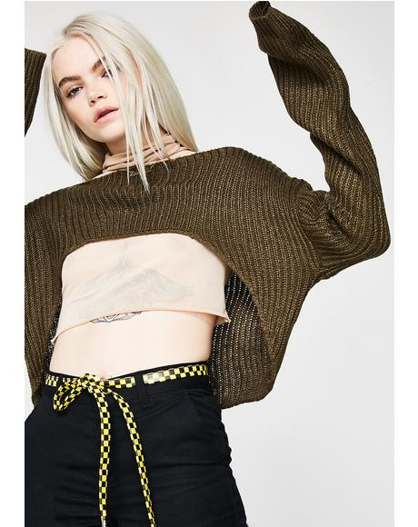 Olive Give Me That New Crop Sweater