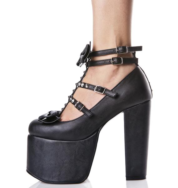 Demonia Hollow Heart Platform Heels