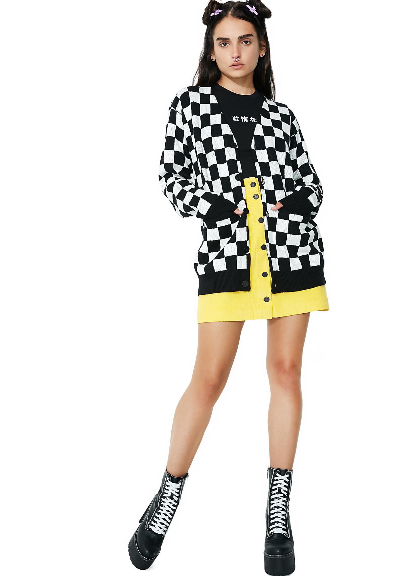 Lazy Oaf Mono Checker Cardigan