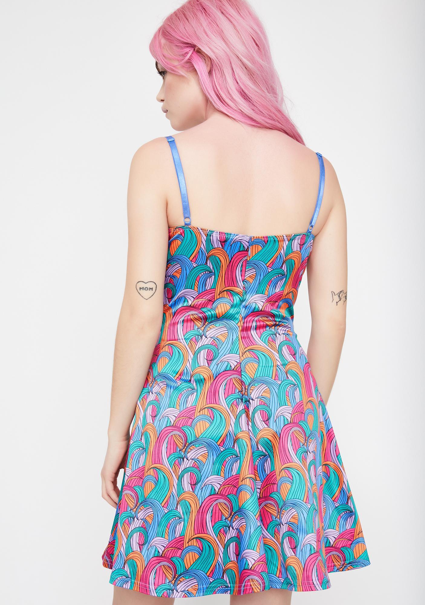 Good Luck Trolls x Dolls Kill Troll Rainbow Swirl Dress