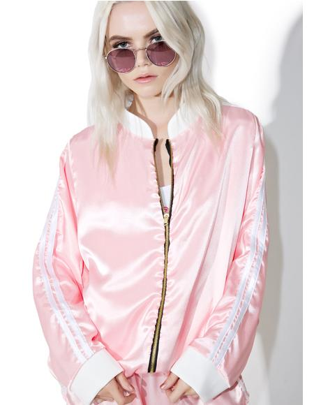 Pynk Silk Kitten Bomber Jacket