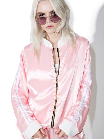 Pynk Silk Kitten Bomber Jacket