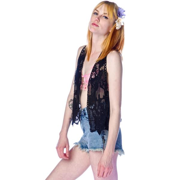 Lip Service Crystal Visions Crocheted Lace Vest