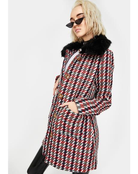 Fur Trim Tweed Coat