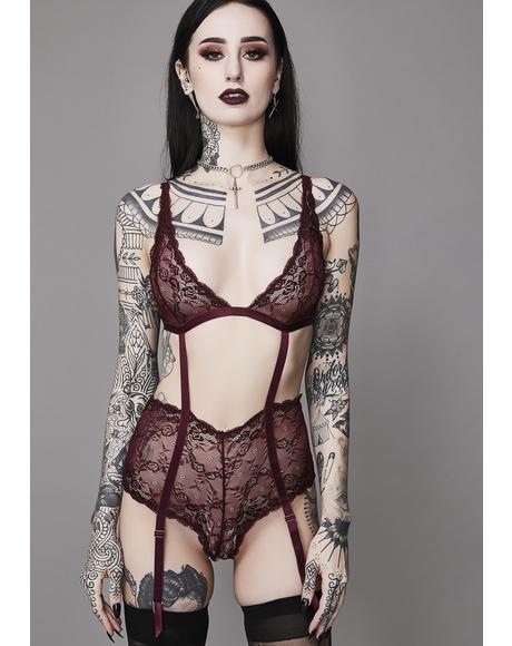 Wine She Is The Dark Lace Bodysuit