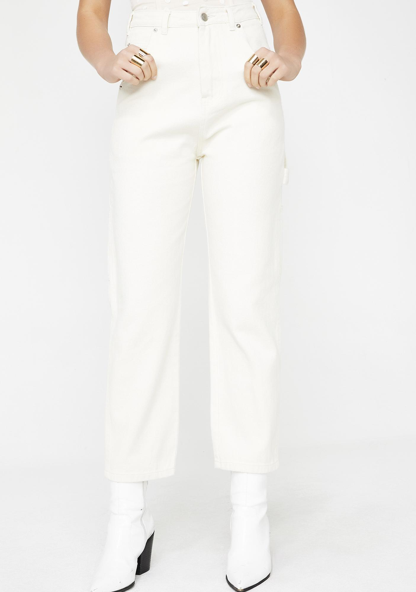 All White Everything Carpenter Pants