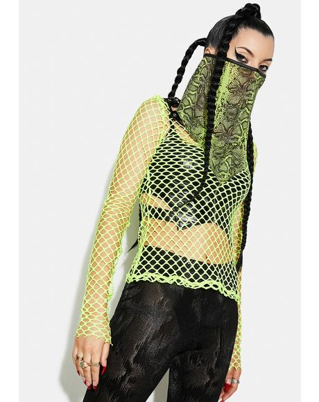 Green Florescent Serpentine Printed Triangular Scarf