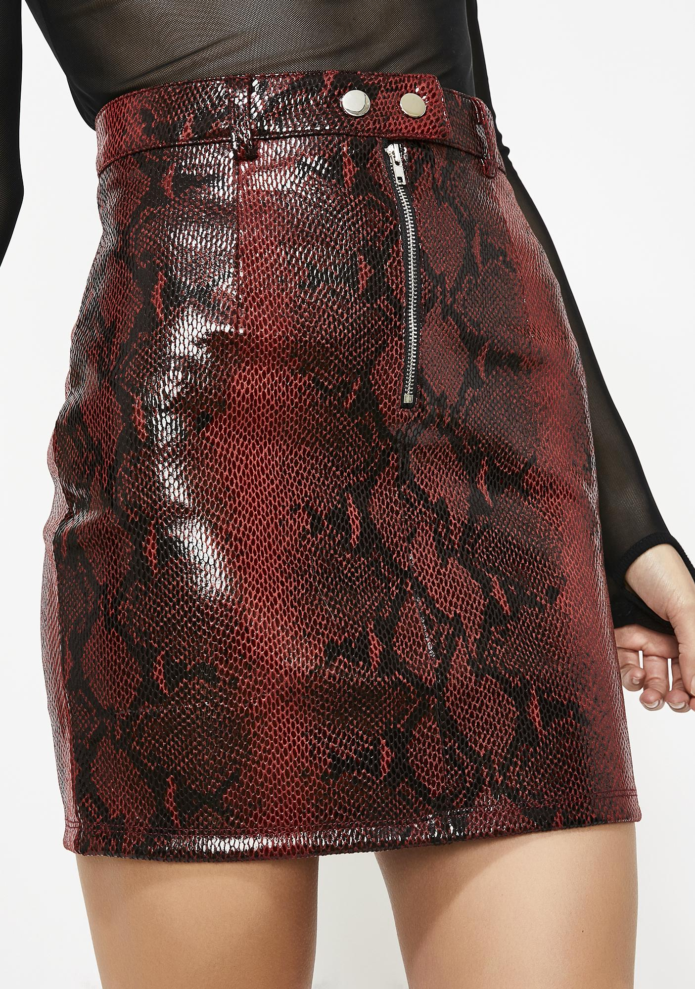 bcf351a073 Shiny Faux Snakeskin Moto Skirt | Dolls Kill