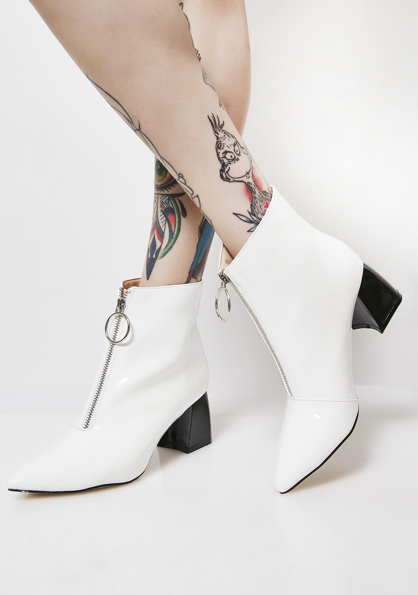 Public Desire Iced Instinct Patent Zip Front Ankle Heels