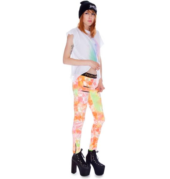 Sunset Metal Zipper Velvet Leggings