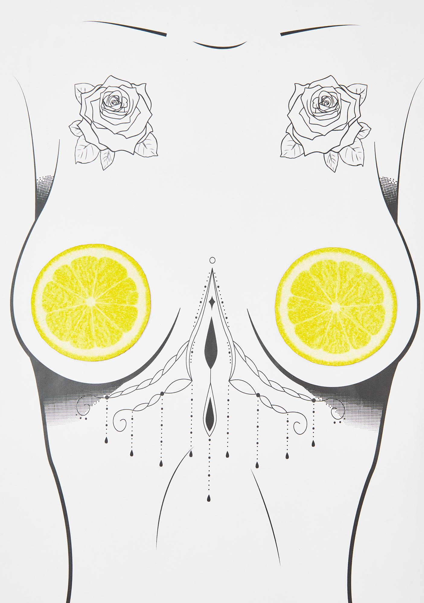 Neva Nude Lemon Slice Glitter Pasties