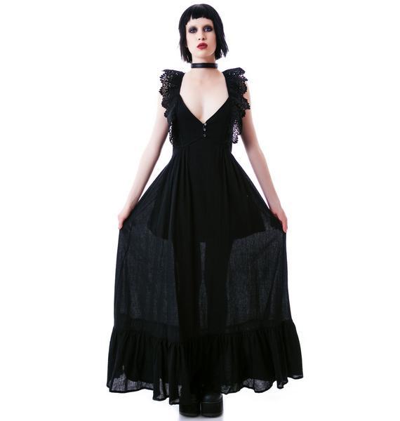 Noir Ruffle Maxi Dress