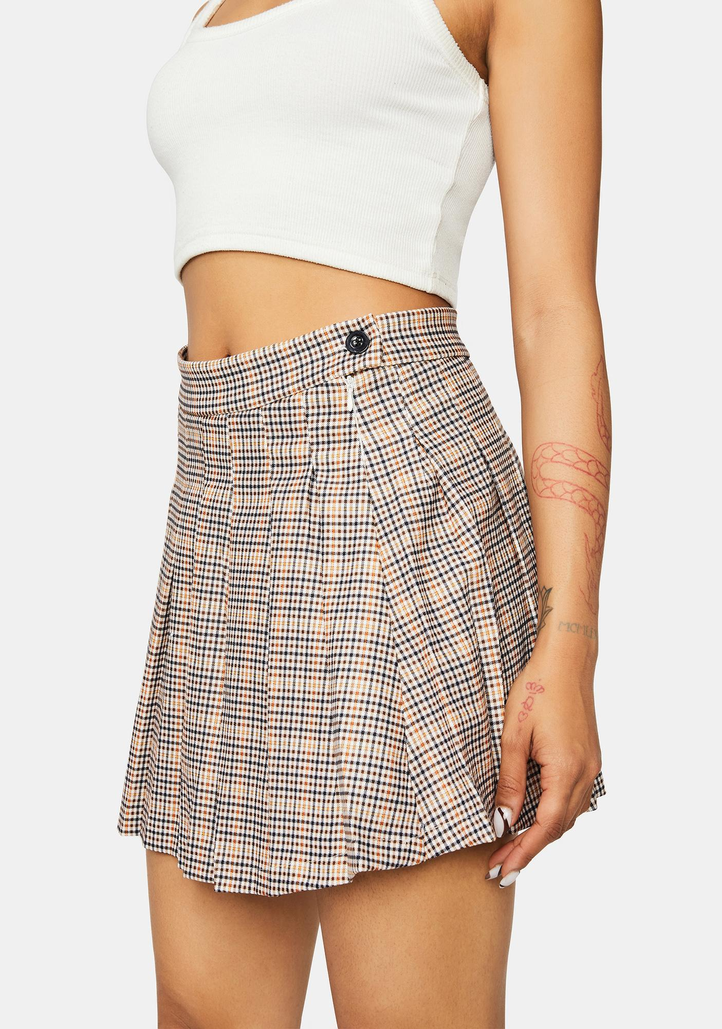 Getting Ideas Pleated Plaid Mini Skirt