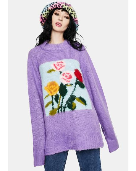 x Charlotte Mei Purple Flower Big Knit Sweater