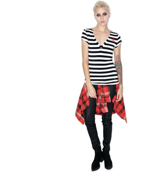 Sourpuss Clothing Jolly Roger Stripe V-Neck Tee