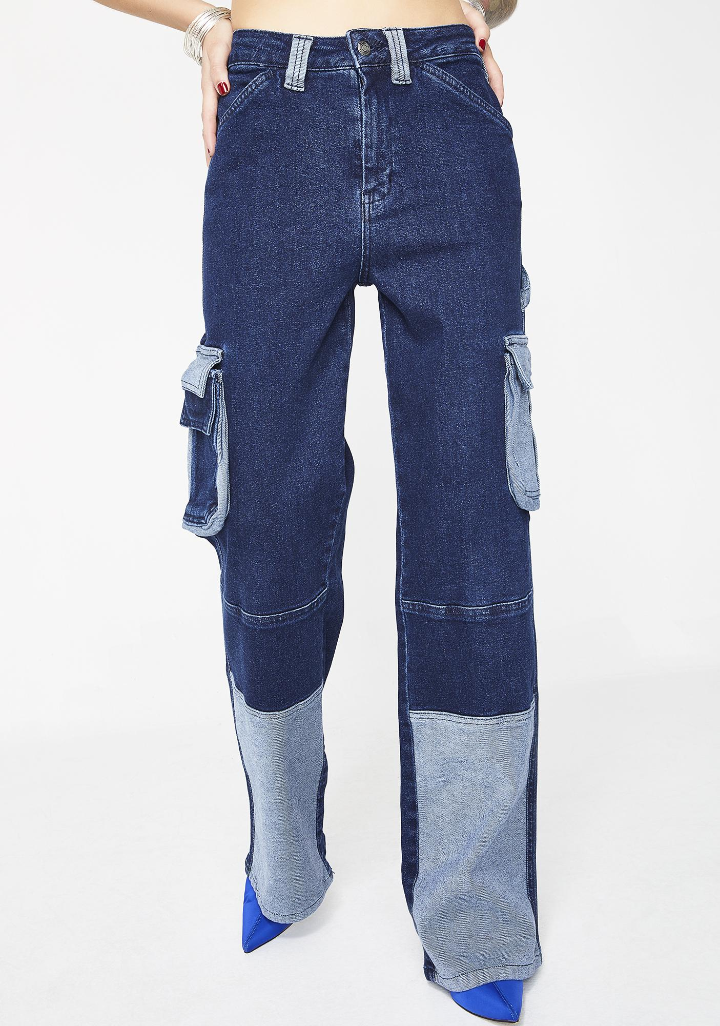 Wide Leg Cargo Jeans by Jaded London