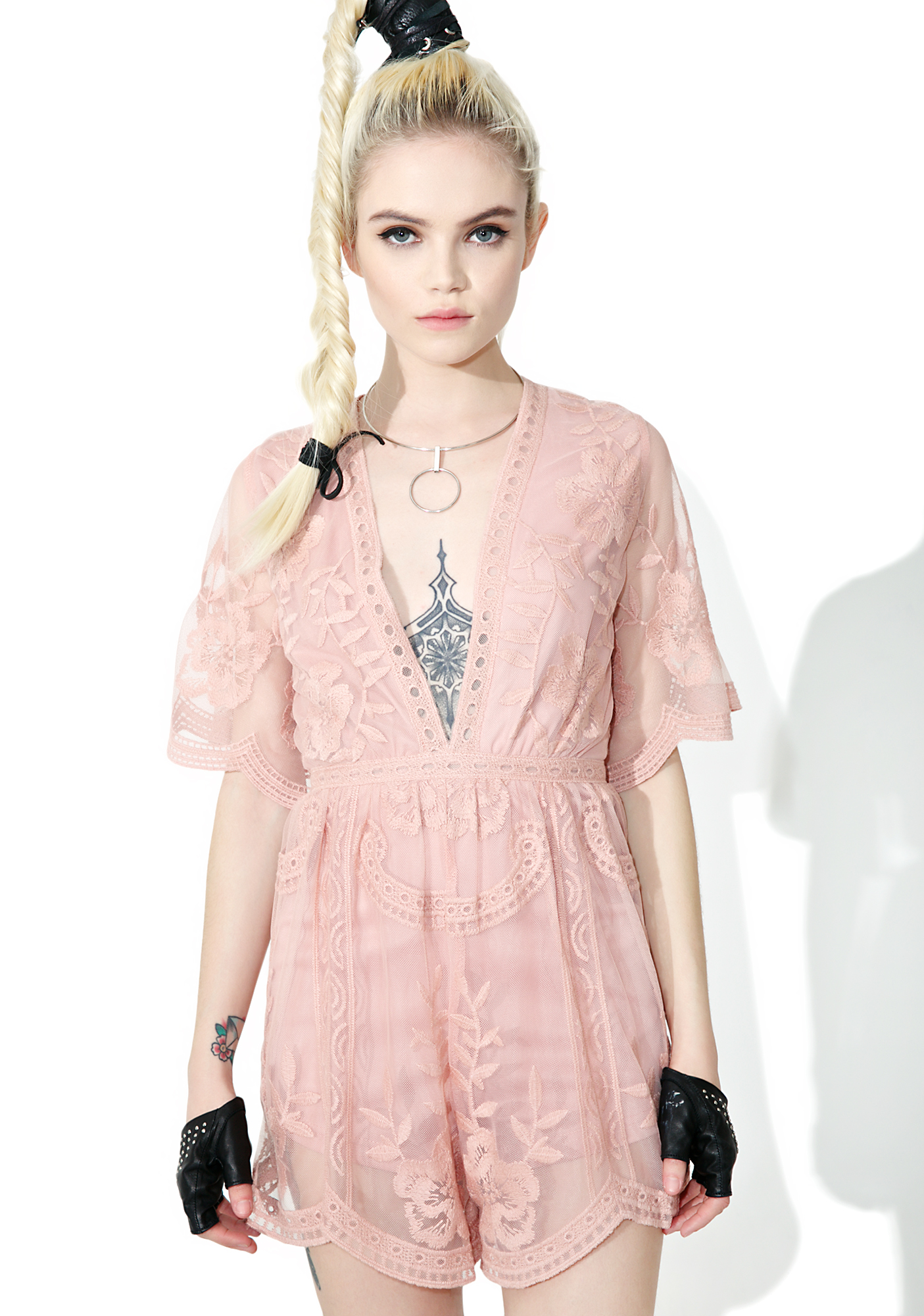 Pink Sheer Lace Romper