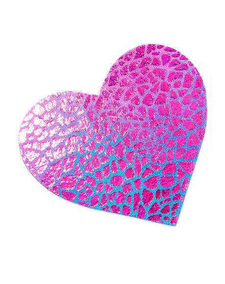 Holographic Black-Light Heart Pasties