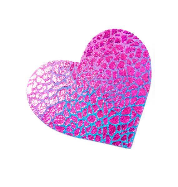 Neva Nude Holographic Black-Light Heart Pasties