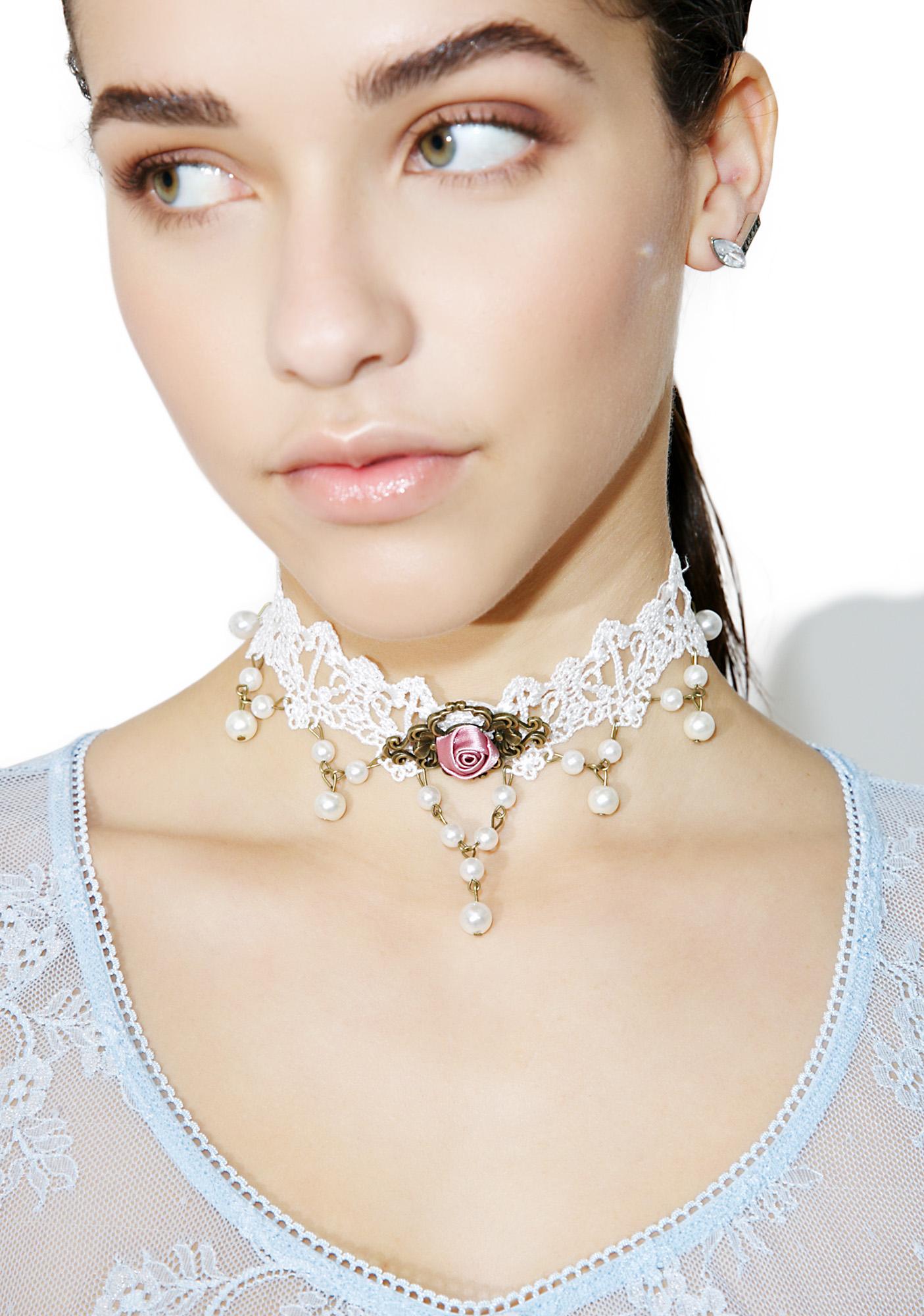 White Victorian Lace Choker