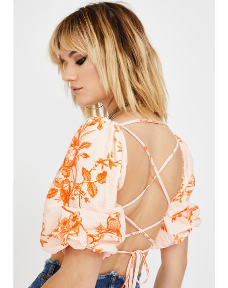 Pink Orange Floral Lace-Up Crop Top