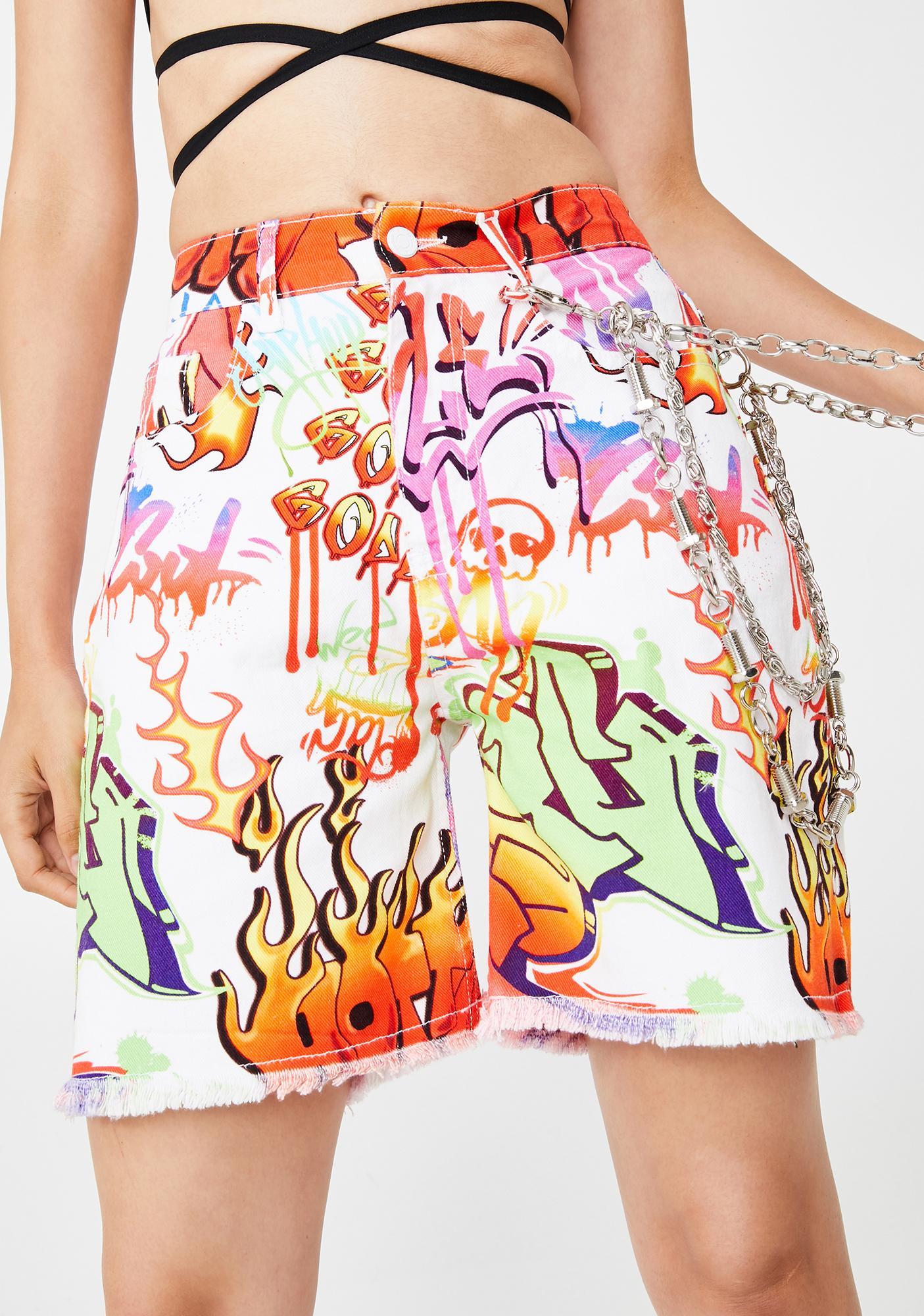 Jaded London Graffiti Print Denim Shorts