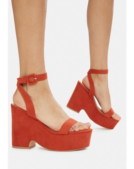 Crush Bridges Burnt Platform Heels