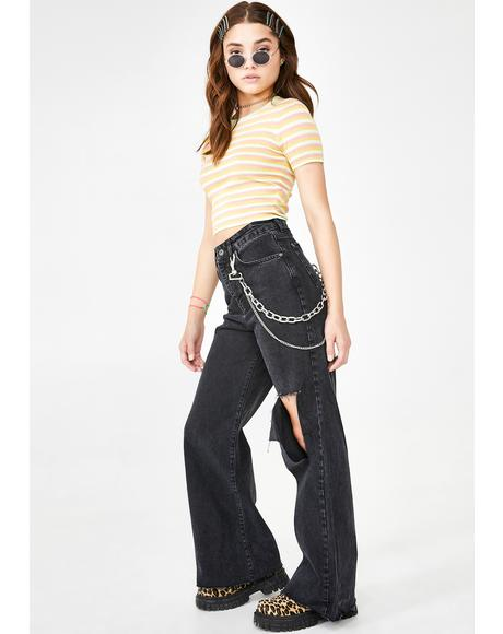Trip Flared Jeans with Knee Rip