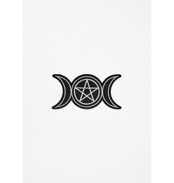 Witch Worldwide Triple Moon Metallic Silver Patch