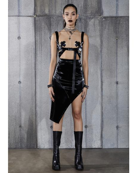 Snare Asymmetrical Vinyl Midi Skirt