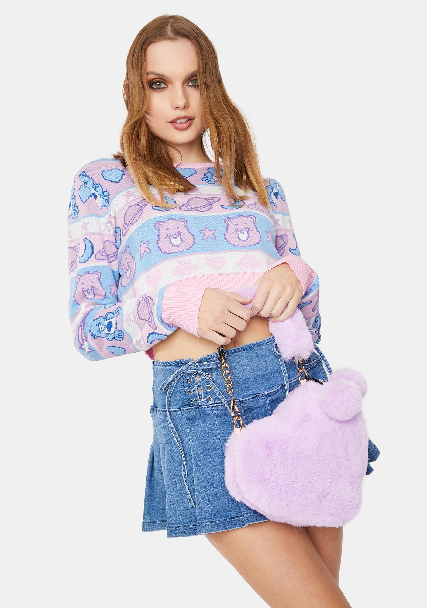 Lavender Love U Furever Faux Fur Handbag